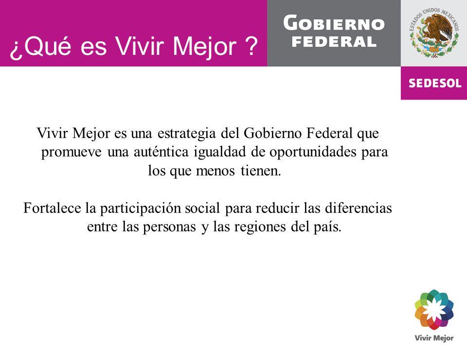 ¿Qué es Vivir Mejor ? Vivir Mejor es una estrategia del Gobierno Federal que promueve una auténtica igualdad de oportunidades para los que menos tiene
