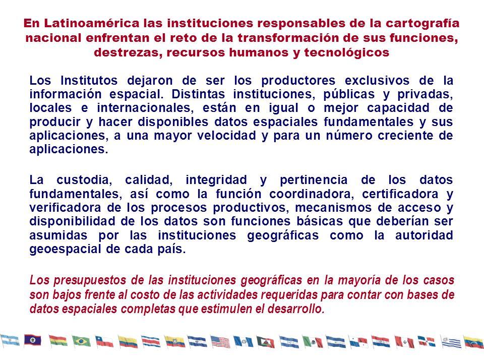 En Latinoamérica las instituciones responsables de la cartografía nacional enfrentan el reto de la transformación de sus funciones, destrezas, recursos humanos y tecnológicos Los Institutos dejaron de ser los productores exclusivos de la información espacial.