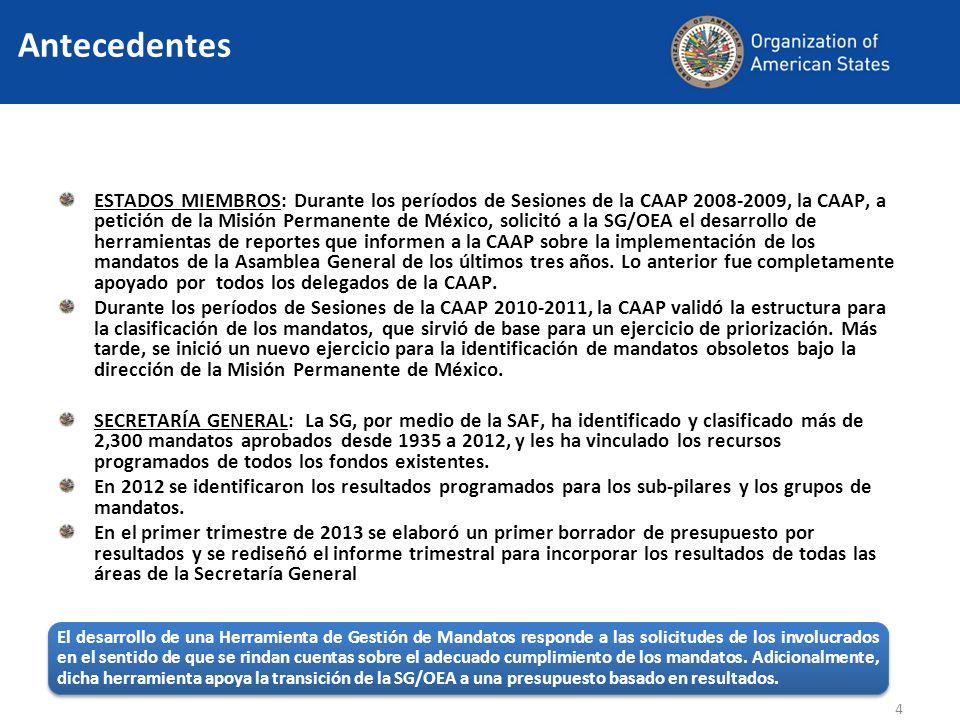 ESTADOS MIEMBROS: Durante los períodos de Sesiones de la CAAP 2008-2009, la CAAP, a petición de la Misión Permanente de México, solicitó a la SG/OEA el desarrollo de herramientas de reportes que informen a la CAAP sobre la implementación de los mandatos de la Asamblea General de los últimos tres años.