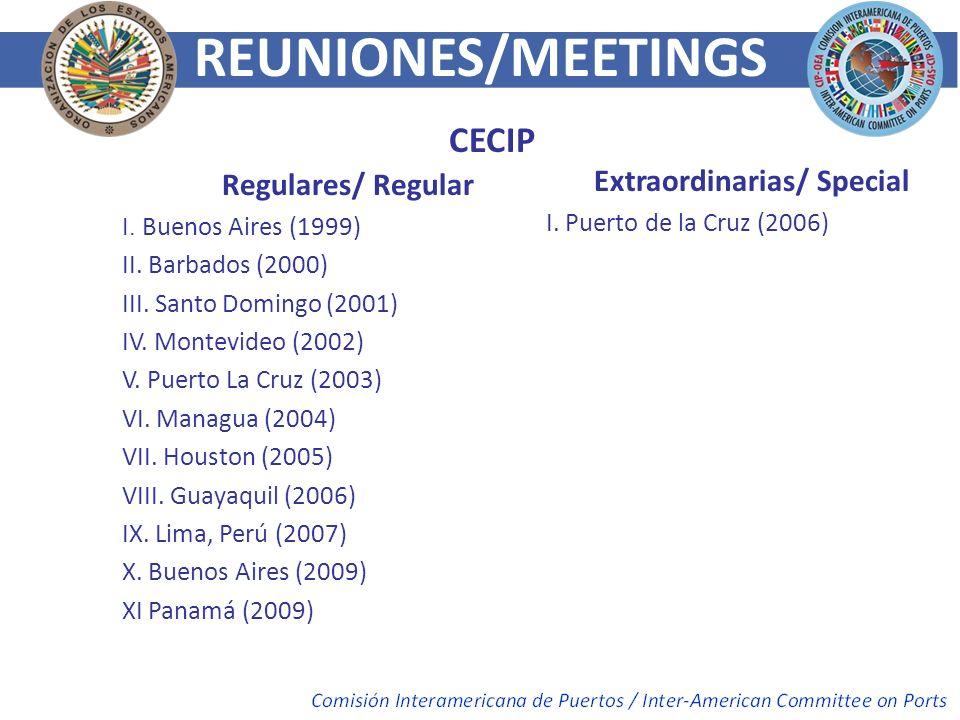 Regulares/ Regular I. Buenos Aires (1999) II. Barbados (2000) III. Santo Domingo (2001) IV. Montevideo (2002) V. Puerto La Cruz (2003) VI. Managua (20