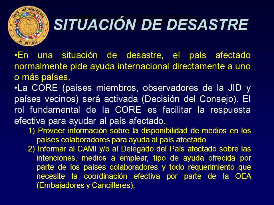 CONCEPCIÓN ESTRATÉGICA En una situación de desastre, el país afectado normalmente pide ayuda internacional directamente a uno o más países.
