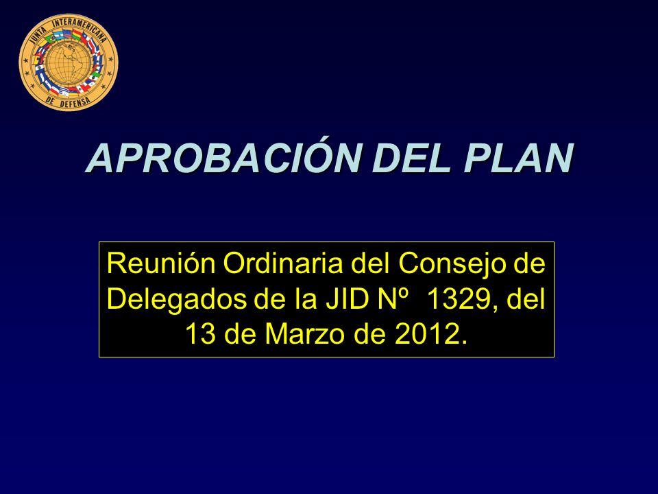 APROBACIÓN DEL PLAN Reunión Ordinaria del Consejo de Delegados de la JID Nº 1329, del 13 de Marzo de 2012.