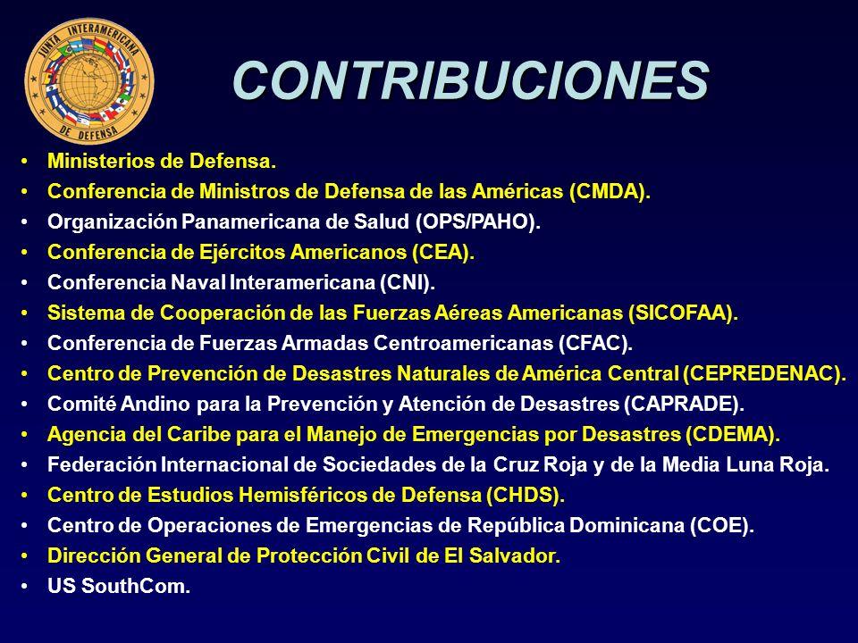 CONTRIBUCIONES Ministerios de Defensa. Conferencia de Ministros de Defensa de las Américas (CMDA).