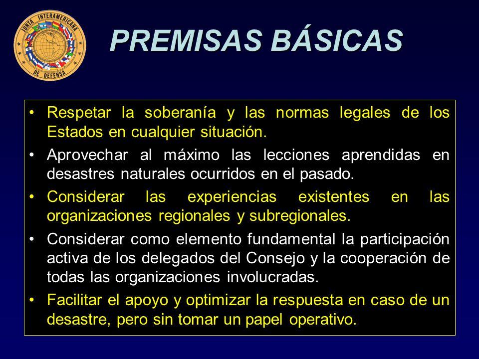 PREMISAS BÁSICAS Respetar la soberanía y las normas legales de los Estados en cualquier situación.