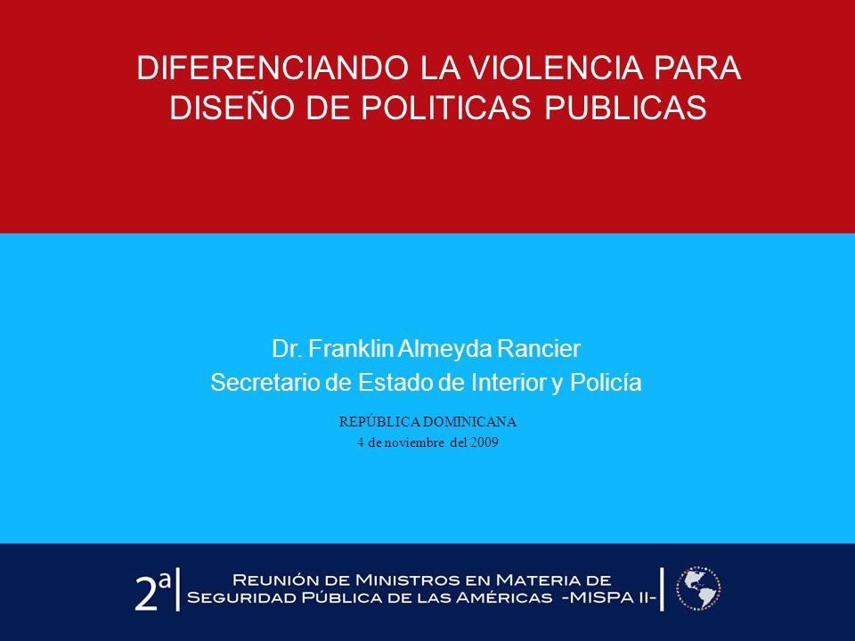 Dr. Franklin Almeyda Rancier Secretario de Estado de Interior y Policía REPÚBLICA DOMINICANA 4 de noviembre del 2009 DIFERENCIANDO LA VIOLENCIA PARA D