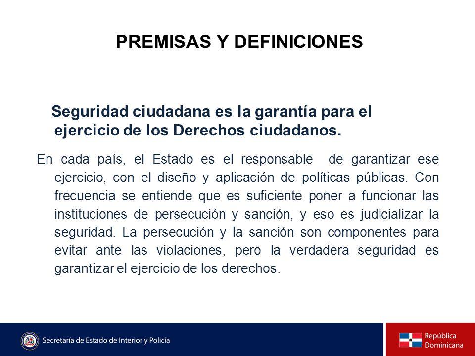 PREMISAS Y DEFINICIONES Seguridad ciudadana es la garantía para el ejercicio de los Derechos ciudadanos. En cada país, el Estado es el responsable de