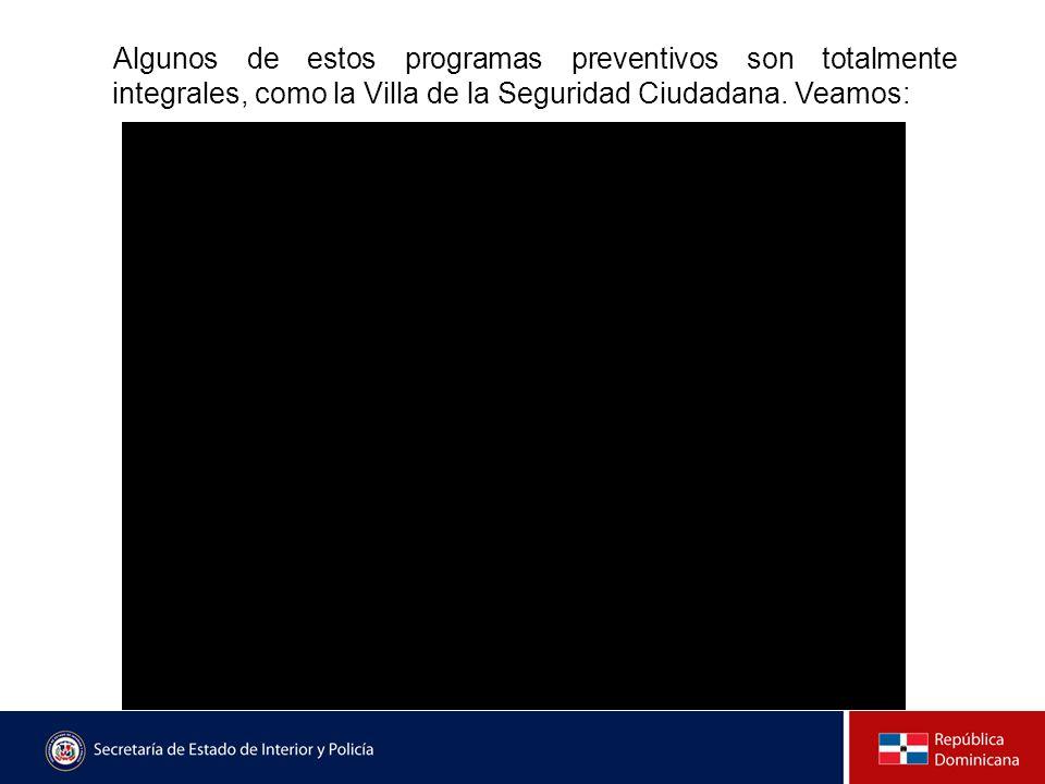 Algunos de estos programas preventivos son totalmente integrales, como la Villa de la Seguridad Ciudadana. Veamos: