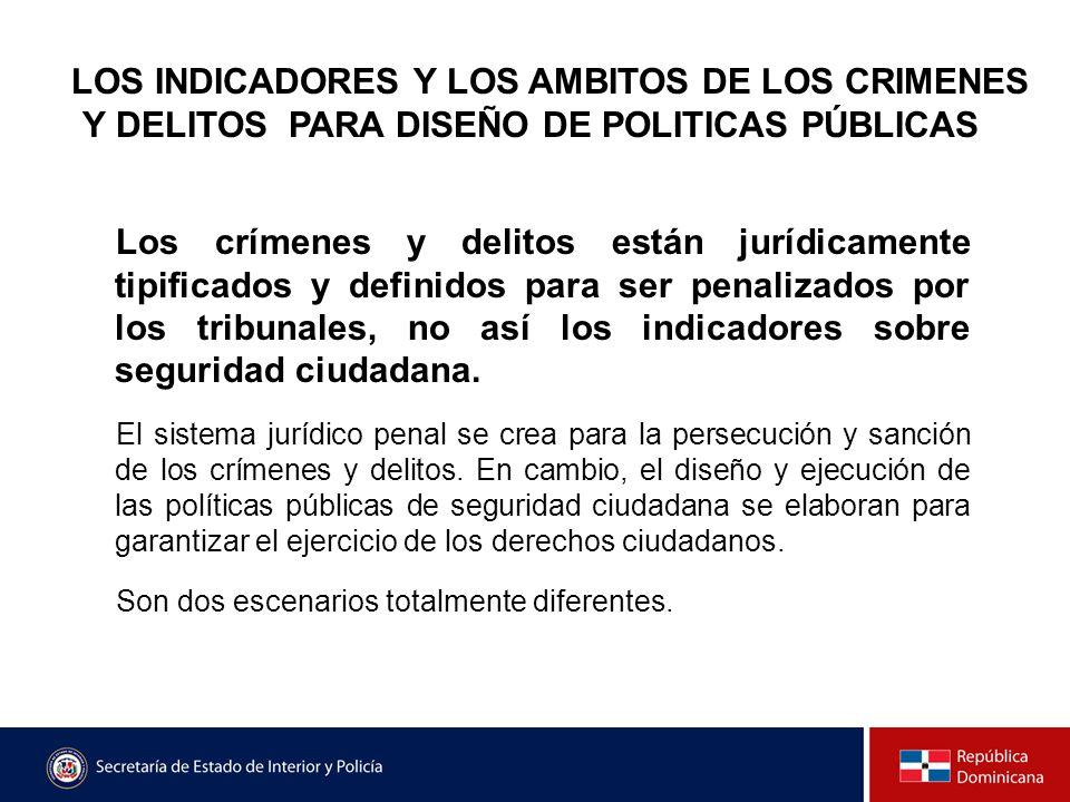 LOS INDICADORES Y LOS AMBITOS DE LOS CRIMENES Y DELITOS PARA DISEÑO DE POLITICAS PÚBLICAS Los crímenes y delitos están jurídicamente tipificados y def