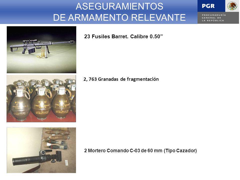 ASEGURAMIENTOS DE ARMAMENTO RELEVANTE 23 Fusiles Barret.