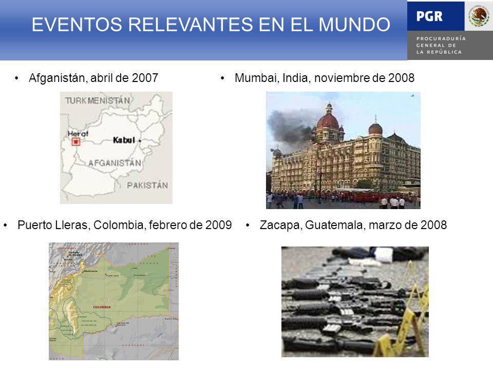 EVENTOS RELEVANTES EN EL MUNDO Mumbai, India, noviembre de 2008Afganistán, abril de 2007 EVENTOS RELEVANTES EN EL MUNDO Puerto Lleras, Colombia, febrero de 2009Zacapa, Guatemala, marzo de 2008