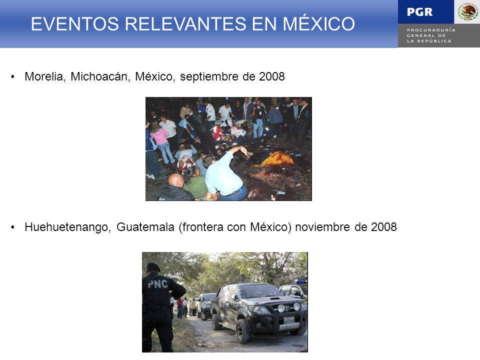 EVENTOS TERRORISTAS EN MÉXICO Morelia, Michoacán, México, septiembre de 2008 EVENTOS RELEVANTES EN MÉXICO Huehuetenango, Guatemala (frontera con México) noviembre de 2008 EVENTOS TERRORISTAS EN MÉXICOEVENTOS RELEVANTES EN MÉXICO