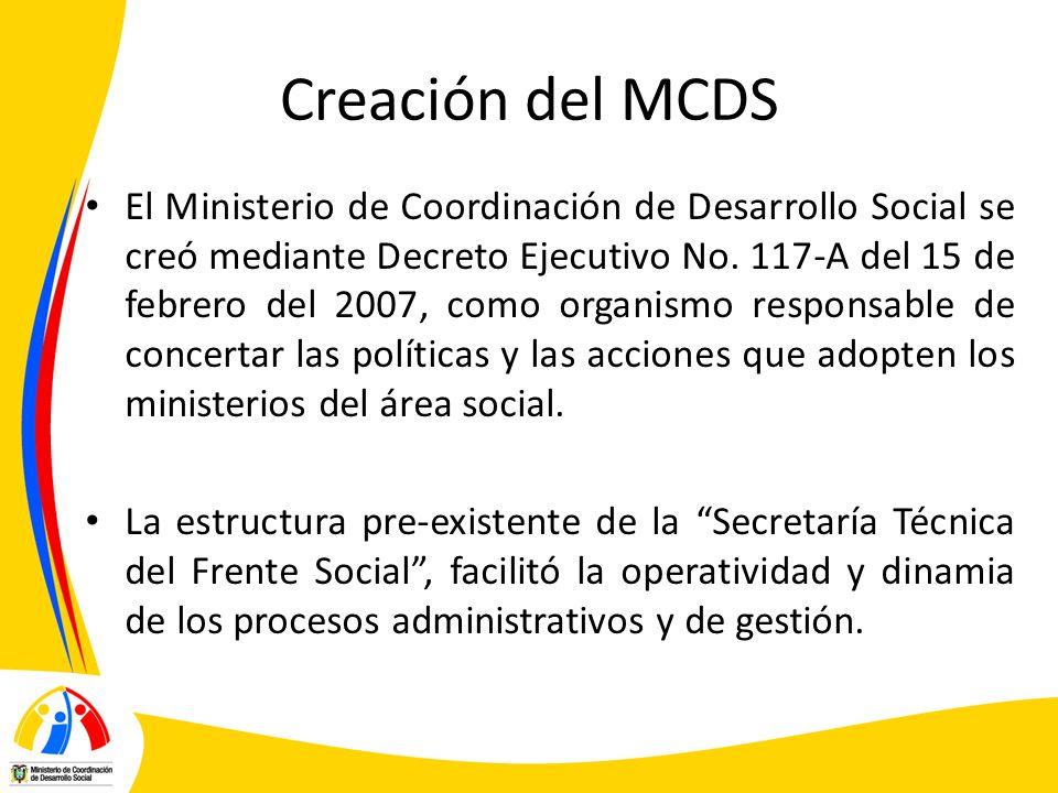 Creación del MCDS El Ministerio de Coordinación de Desarrollo Social se creó mediante Decreto Ejecutivo No. 117-A del 15 de febrero del 2007, como org