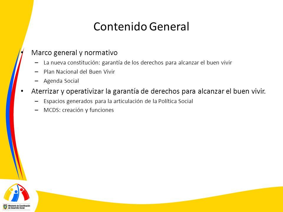Contenido General Marco general y normativo – La nueva constitución: garantía de los derechos para alcanzar el buen vivir – Plan Nacional del Buen Viv