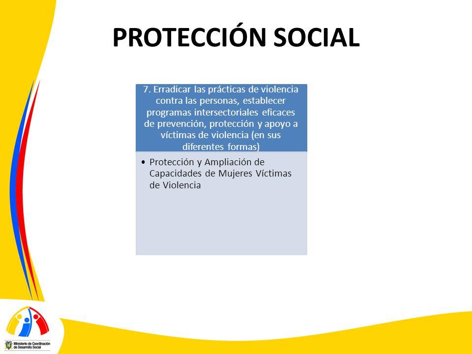 PROTECCIÓN SOCIAL 7. Erradicar las prácticas de violencia contra las personas, establecer programas intersectoriales eficaces de prevención, protecció