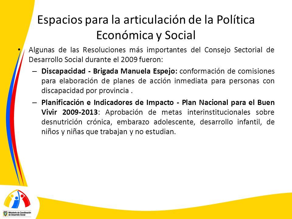 Espacios para la articulación de la Política Económica y Social Algunas de las Resoluciones más importantes del Consejo Sectorial de Desarrollo Social