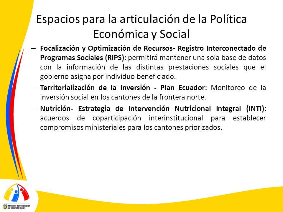 Espacios para la articulación de la Política Económica y Social – Focalización y Optimización de Recursos- Registro Interconectado de Programas Social
