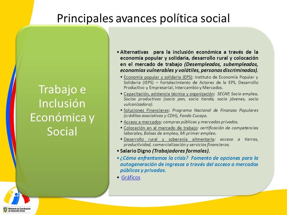 Principales avances política social Alternativas para la inclusión económica a través de la economía popular y solidaria, desarrollo rural y colocació