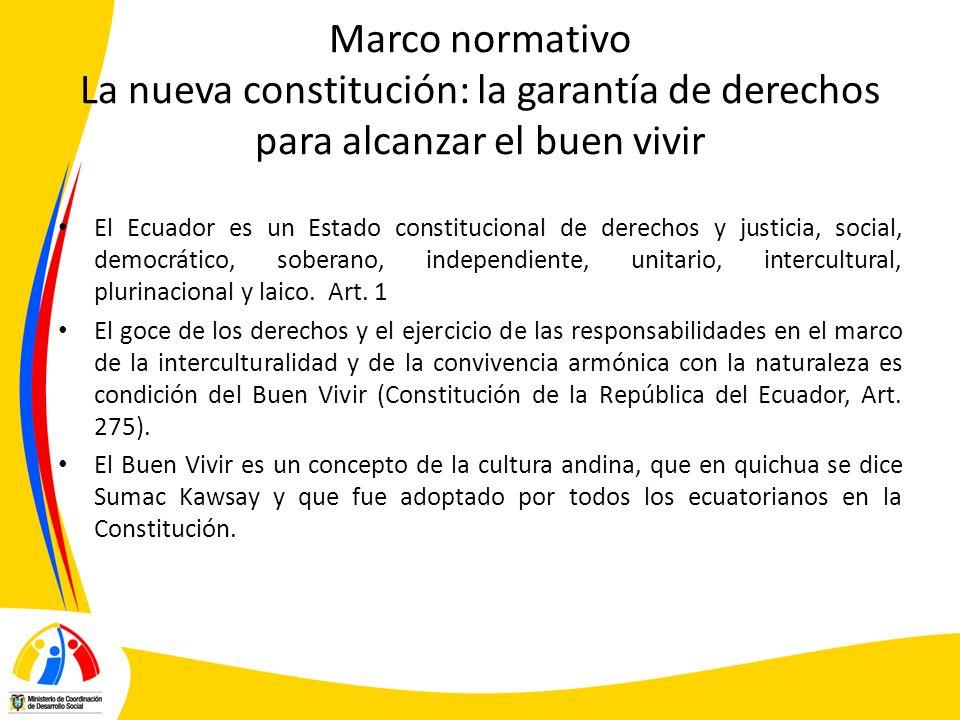 Marco normativo La nueva constitución: la garantía de derechos para alcanzar el buen vivir El Ecuador es un Estado constitucional de derechos y justic