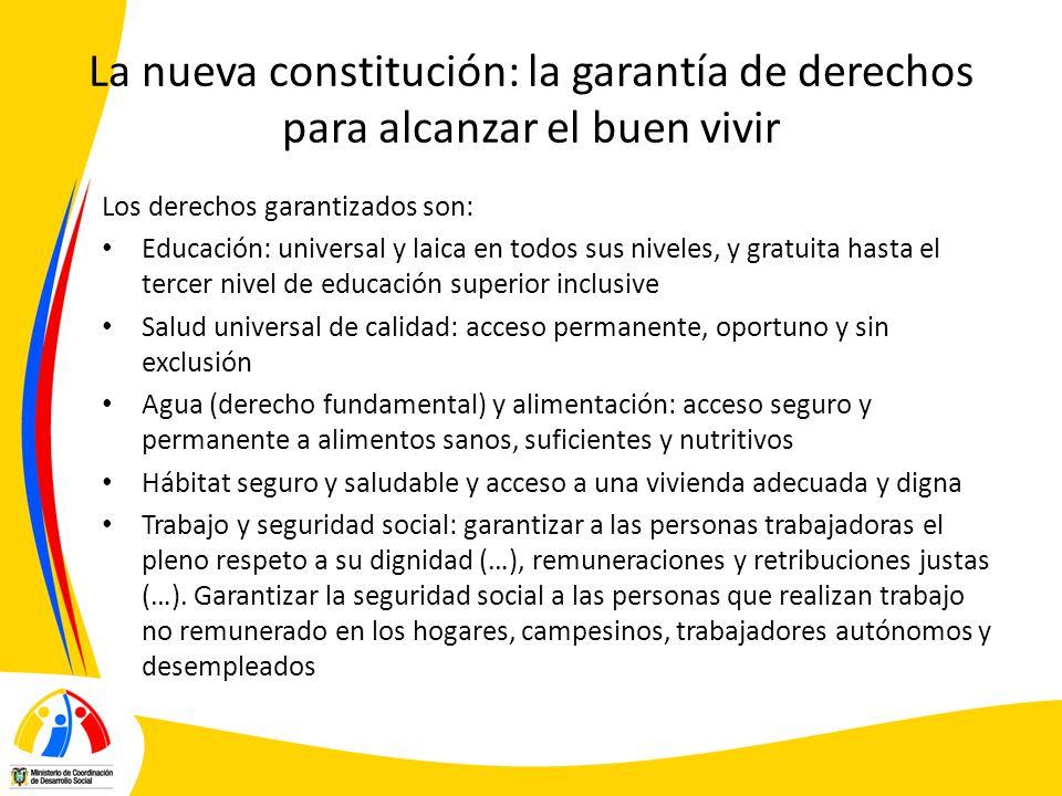 La nueva constitución: la garantía de derechos para alcanzar el buen vivir Los derechos garantizados son: Educación: universal y laica en todos sus ni