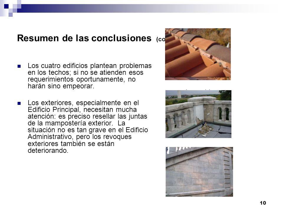 10 Resumen de las conclusiones (cont.) Los cuatro edificios plantean problemas en los techos; si no se atienden esos requerimientos oportunamente, no harán sino empeorar.