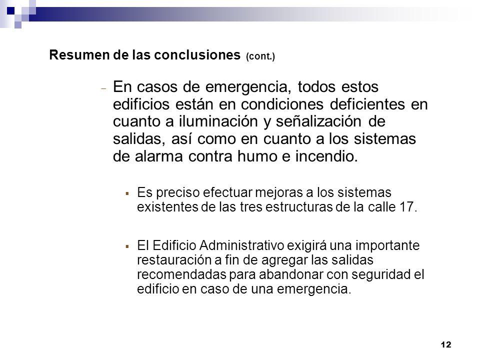 12 Resumen de las conclusiones (cont.) En casos de emergencia, todos estos edificios están en condiciones deficientes en cuanto a iluminación y señalización de salidas, así como en cuanto a los sistemas de alarma contra humo e incendio.