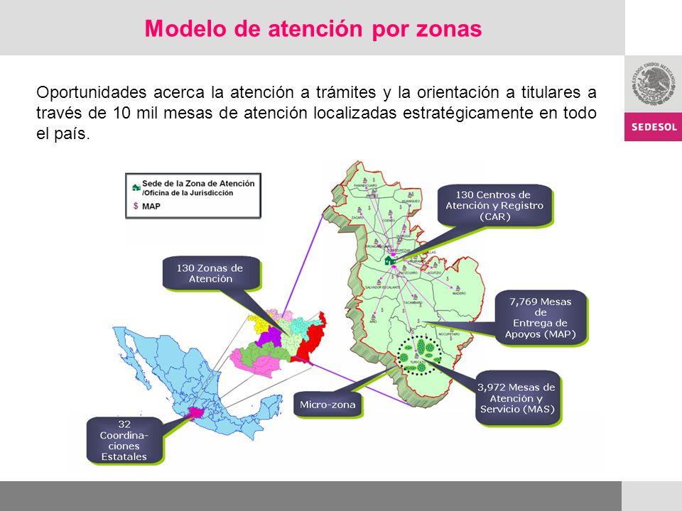 Modelo de atención por zonas Oportunidades acerca la atención a trámites y la orientación a titulares a través de 10 mil mesas de atención localizadas estratégicamente en todo el país.