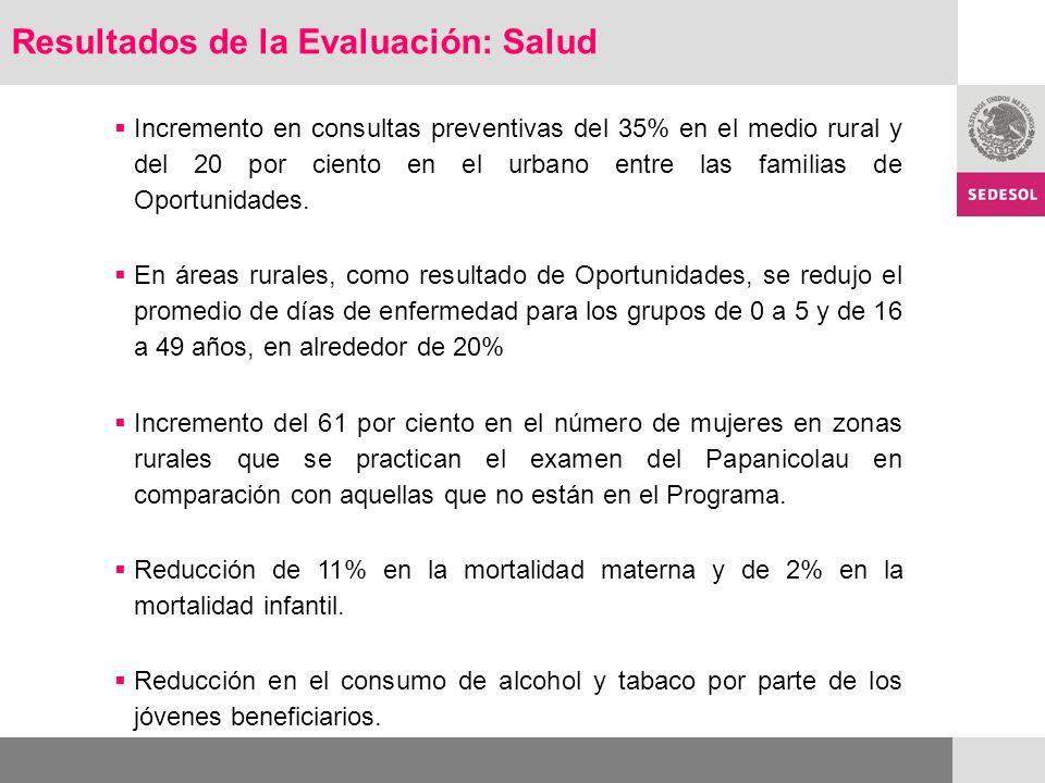 Incremento en consultas preventivas del 35% en el medio rural y del 20 por ciento en el urbano entre las familias de Oportunidades.