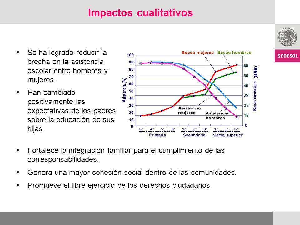Impactos cualitativos Se ha logrado reducir la brecha en la asistencia escolar entre hombres y mujeres.