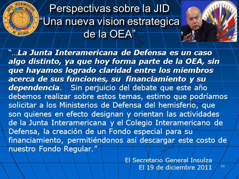 Perspectivas sobre la JID Una nueva vision estrategica de la OEA La Junta Interamericana de Defensa es un caso algo distinto, ya que hoy forma parte d
