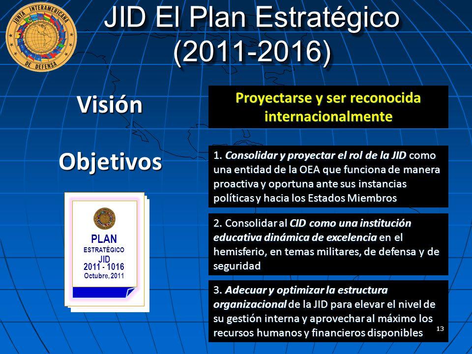 Visión Proyectarse y ser reconocida internacionalmente JID El Plan Estratégico (2011-2016) Objetivos 1. Consolidar y proyectar el rol de la JID como u