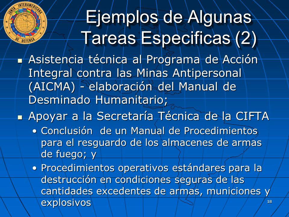 Ejemplos de Algunas Tareas Especificas (2) Asistencia técnica al Programa de Acción Integral contra las Minas Antipersonal (AICMA) - elaboración del M