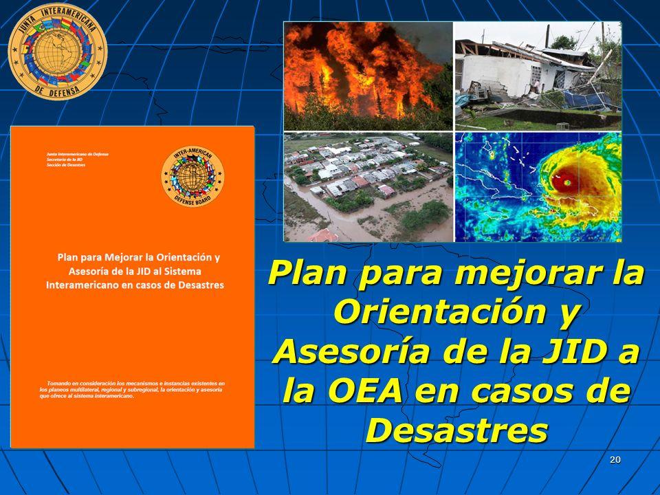 Plan para mejorar la Orientación y Asesoría de la JID a la OEA en casos de Desastres 20