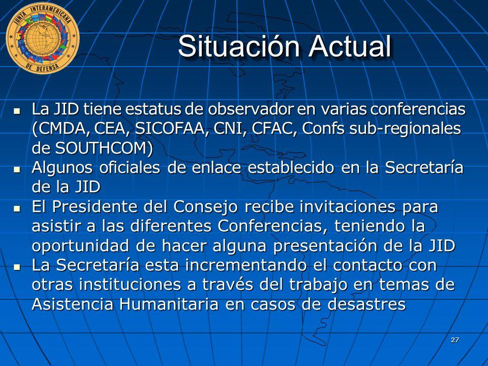 Situación Actual La JID tiene estatus de observador en varias conferencias (CMDA, CEA, SICOFAA, CNI, CFAC, Confs sub-regionales de SOUTHCOM) La JID ti