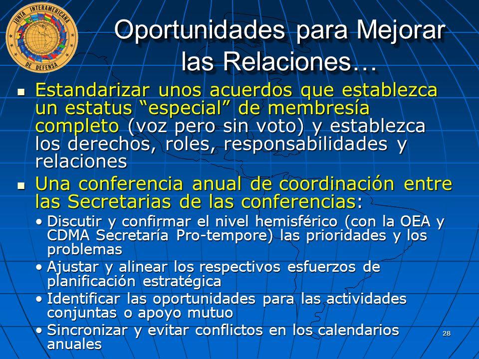 Oportunidades para Mejorar las Relaciones… Estandarizar unos acuerdos que establezca un estatus especial de membresía completo (voz pero sin voto) y e