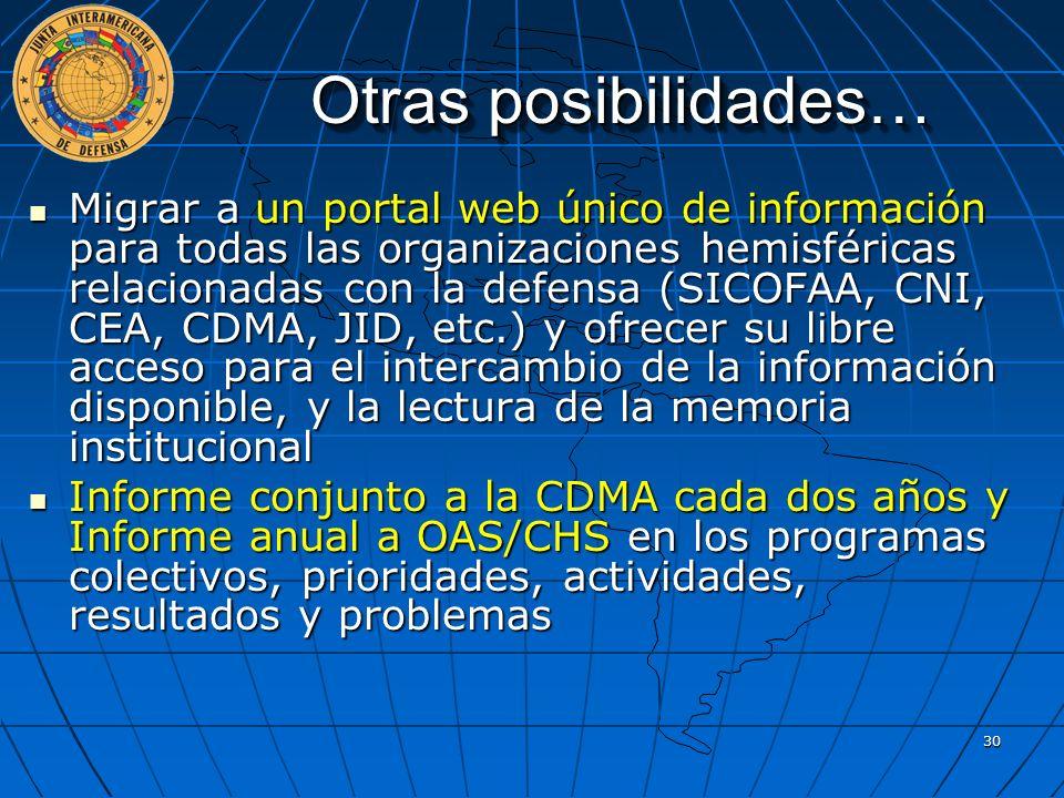 Otras posibilidades… Migrar a un portal web único de información para todas las organizaciones hemisféricas relacionadas con la defensa (SICOFAA, CNI,