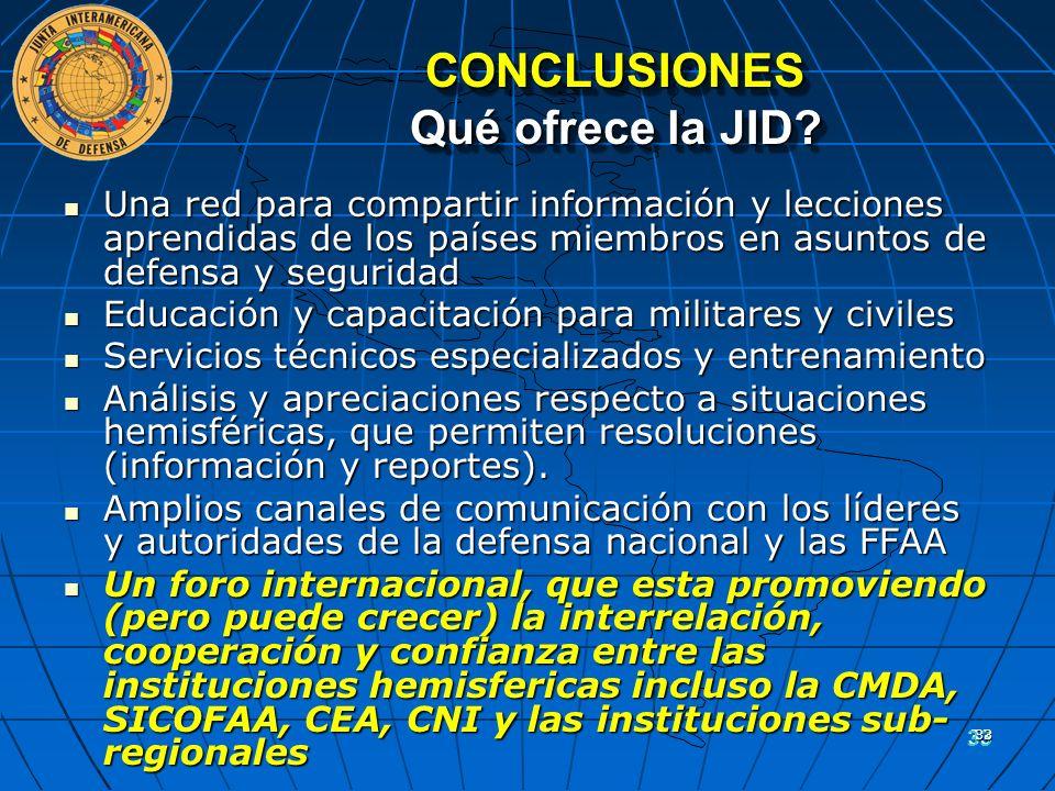 33 CONCLUSIONES Qué ofrece la JID? Una red para compartir información y lecciones aprendidas de los países miembros en asuntos de defensa y seguridad