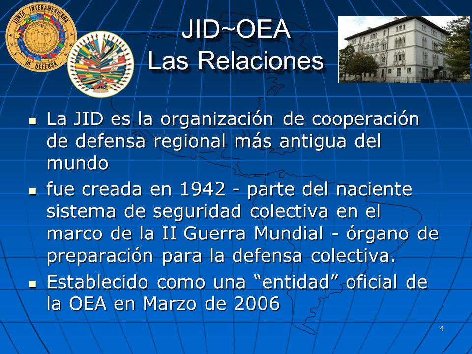 JID~OEA Las Relaciones La JID es la organización de cooperación de defensa regional más antigua del mundo La JID es la organización de cooperación de
