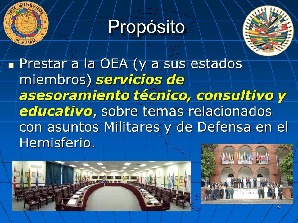 Propósito Prestar a la OEA (y a sus estados miembros) servicios de asesoramiento técnico, consultivo y educativo, sobre temas relacionados con asuntos