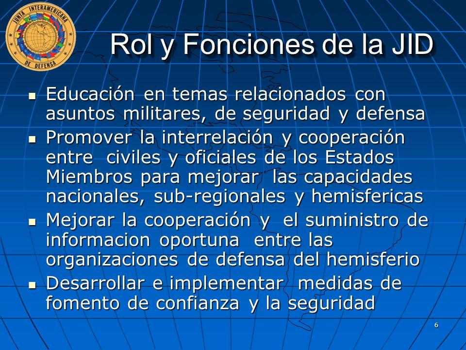 Rol y Fonciones de la JID Educación en temas relacionados con asuntos militares, de seguridad y defensa Educación en temas relacionados con asuntos mi