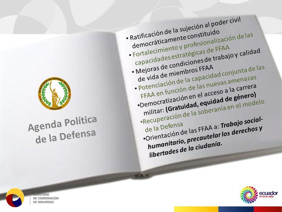 Ratificación de la sujeción al poder civil democráticamente constituido Fortalecimiento y profesionalización de las capacidades estratégicas de FFAA Mejoras de condiciones de trabajo y calidad de vida de miembros FFAA Potenciación de la capacidad conjunta de las FFAA en función de las nuevas amenazas Democratización en el acceso a la carrera militar: (Gratuidad, equidad de género) Recuperación de la soberanía en el modelo de la Defensa Orientación de las FFAA a: Trabajo social- humanitario, precautelar los derechos y libertades de la ciudanía.