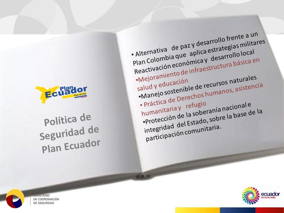 Alternativa de paz y desarrollo frente a un Plan Colombia que aplica estrategias militares Reactivación económica y desarrollo local Mejoramiento de infraestructura básica en salud y educación Manejo sostenible de recursos naturales Práctica de Derechos humanos, asistencia humanitaria y refugio Protección de la soberanía nacional e integridad del Estado, sobre la base de la participación comunitaria.