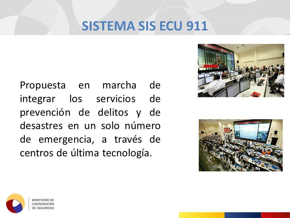 SISTEMA SIS ECU 911 Propuesta en marcha de integrar los servicios de prevención de delitos y de desastres en un solo número de emergencia, a través de centros de última tecnología.