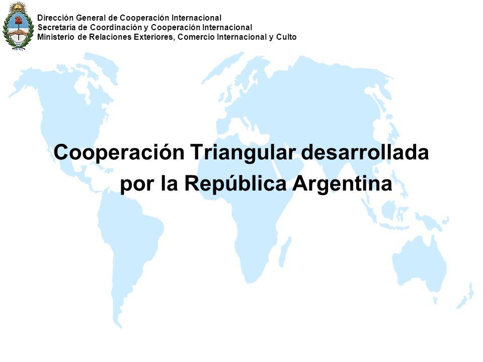 Cooperación Triangular desarrollada por la República Argentina Dirección General de Cooperación Internacional Secretaría de Coordinación y Cooperación