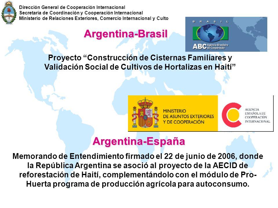 Argentina-Brasil Proyecto Construcción de Cisternas Familiares y Validación Social de Cultivos de Hortalizas en Haití Argentina-España Memorando de En