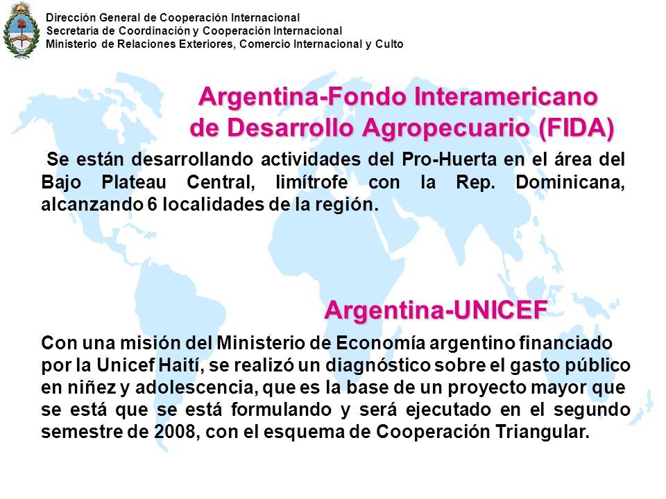 Argentina-Fondo Interamericano de Desarrollo Agropecuario (FIDA) de Desarrollo Agropecuario (FIDA) Se están desarrollando actividades del Pro-Huerta e