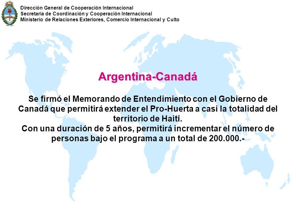 Argentina-Canadá Se firmó el Memorando de Entendimiento con el Gobierno de Canadá que permitirá extender el Pro-Huerta a casi la totalidad del territo