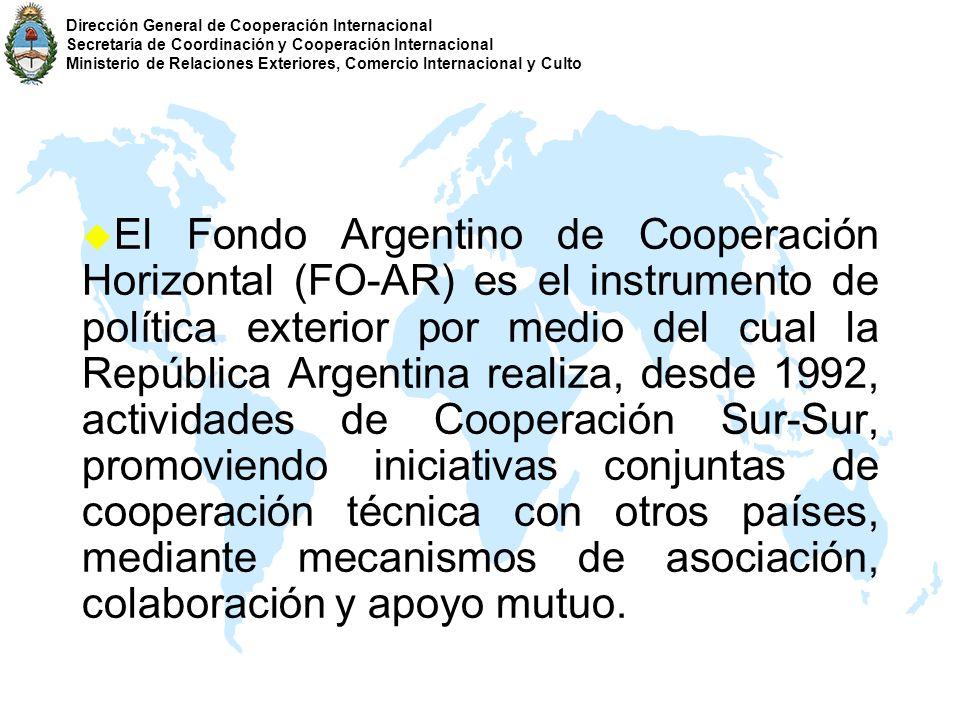 u El Fondo Argentino de Cooperación Horizontal (FO-AR) es el instrumento de política exterior por medio del cual la República Argentina realiza, desde