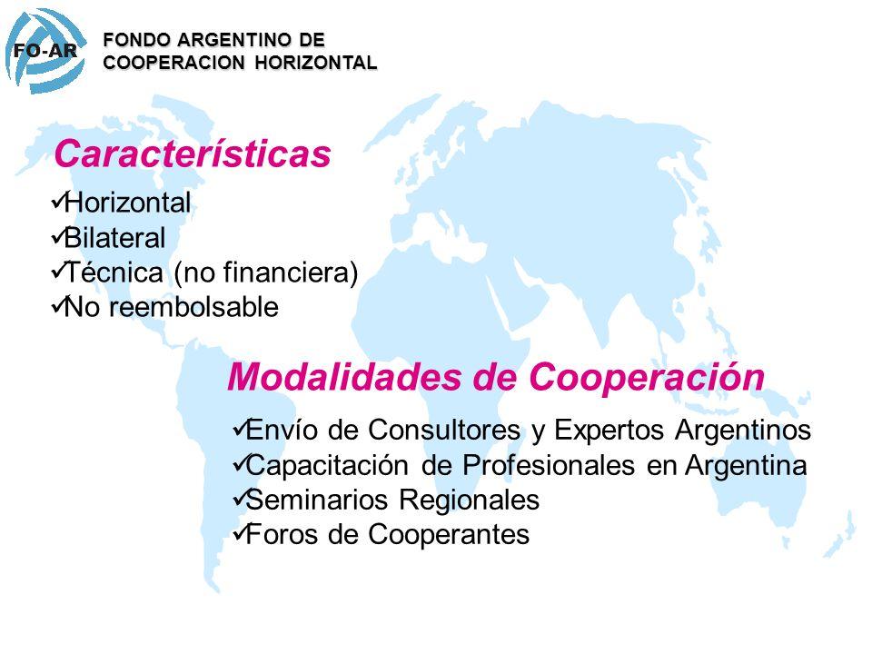 Características Horizontal Bilateral Técnica (no financiera) No reembolsable FONDO ARGENTINO DE COOPERACION HORIZONTAL Envío de Consultores y Expertos