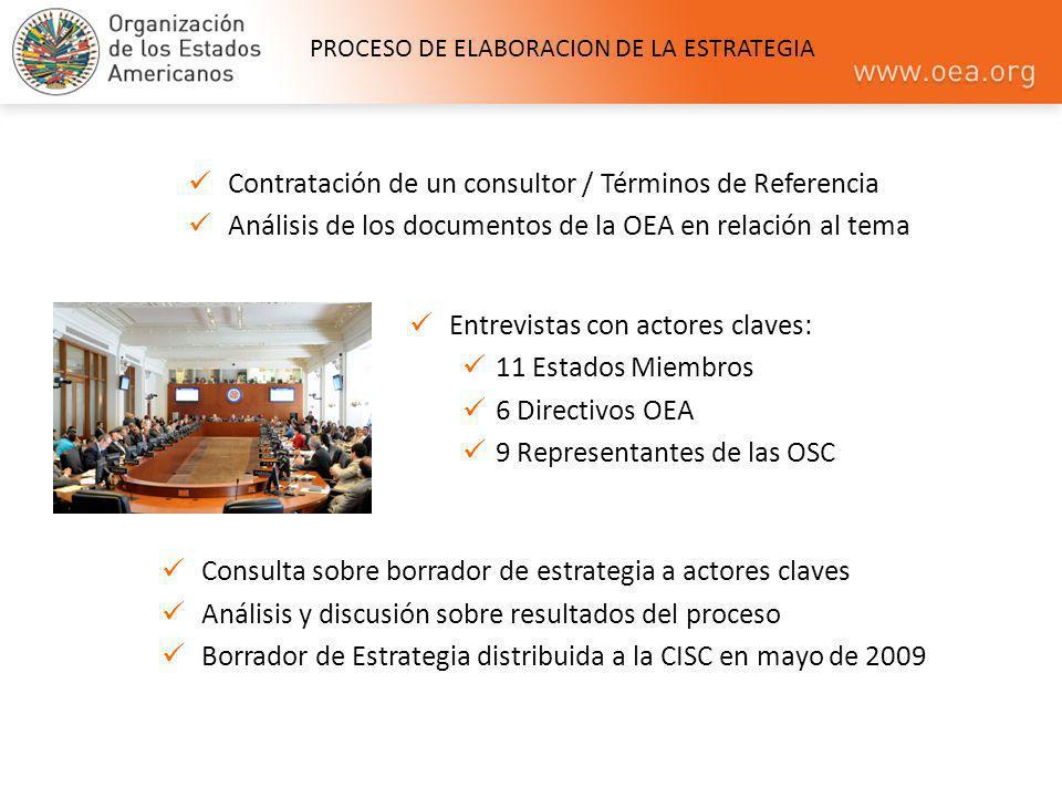 Contratación de un consultor / Términos de Referencia Análisis de los documentos de la OEA en relación al tema Entrevistas con actores claves: 11 Esta