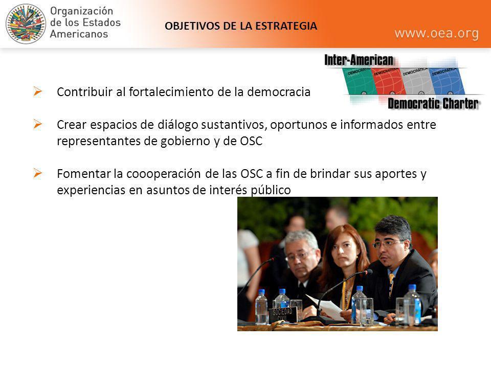 OBJETIVOS DE LA ESTRATEGIA Contribuir al fortalecimiento de la democracia Crear espacios de diálogo sustantivos, oportunos e informados entre represen
